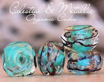 Celestial Metallic Organic Cubes glass lampwork beads  for Jewelry Designs SRA