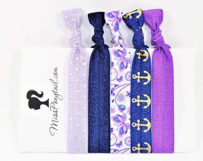 Butterfly Hair Ties, Butterflies, Purple, Navy Blue, Anchors, Elastic Hair Ties, Handmade, Elastic Ribbon, Ponytail Holder, Knotted Hair Tie
