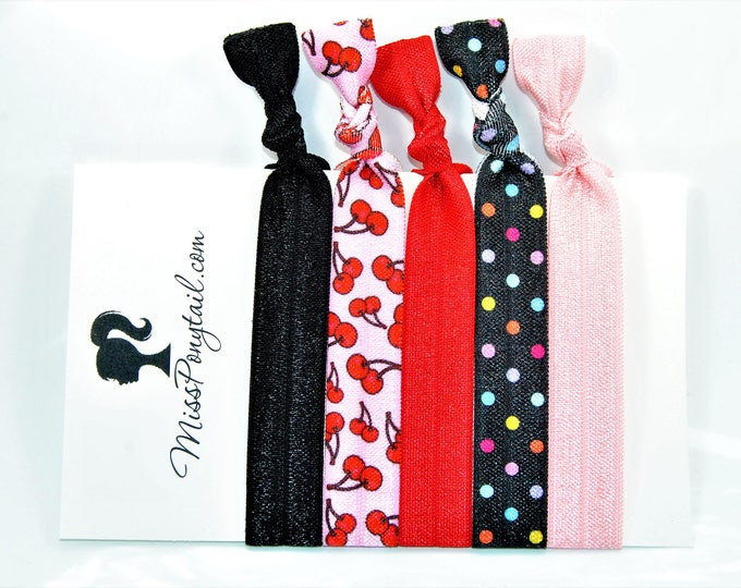 Cherry Hair Ties, Red, Black, Pink, Dots, Elastic Hair Ties, Handmade, Elastic Ribbon, Ponytail Holder, Knotted Hair Ties missponytail