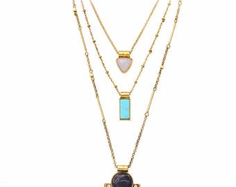 Oasis Gold Layered Natural Stone & Crystal Necklace
