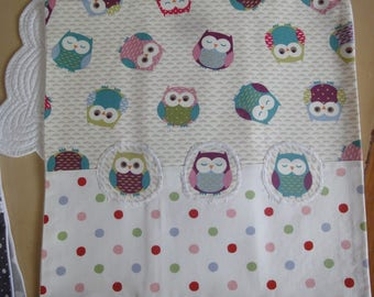 cover cushion fabric 40X40X small owls and polka dots