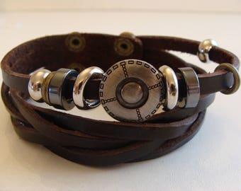 Bracelet mixed brown leather button braid fantasy width 2.5 cm
