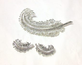 Vintage Coro Pegasus Silvertone Leaf Pin and Clip Earrings
