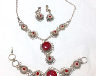 Vintage Silver With Red Accent Stone Set