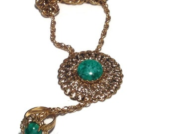 Cool Green/Goldtone Bracelet with Attached Ring