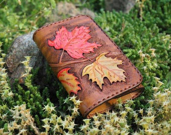 leather key pouch, maple leaf wallet, leather key wallet, leather key case, leather key holder, tooled leather key, case for keys