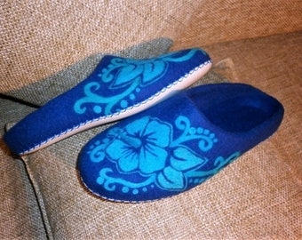 Felted Slippers Women Eco Friendly Clothes Fairy Boho Hippie Shoes Blue Felt Flowers Cute Natural Organic Boiled Wool Graduation Moms Gift