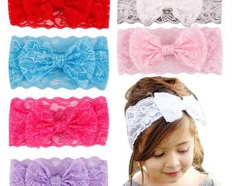 Baby Lace Headband-Lace Bow Headband-Baby Girl Headband-Lace Headband-Stretch Lace Headband-Bow Headband-Toddler Headband-Hair Accessories