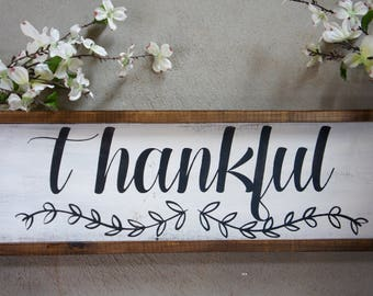 Thankful//Hand Painted//Wood Sign//Olive Branch//Fall Decor//Living Room Decor//Thanksgiving Decor