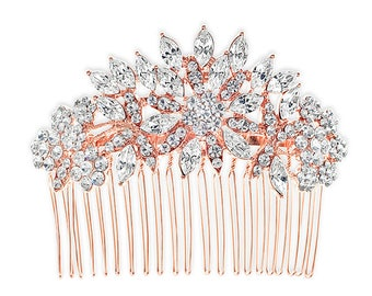 Rose Gold Color Floral Crystal Hair Comb