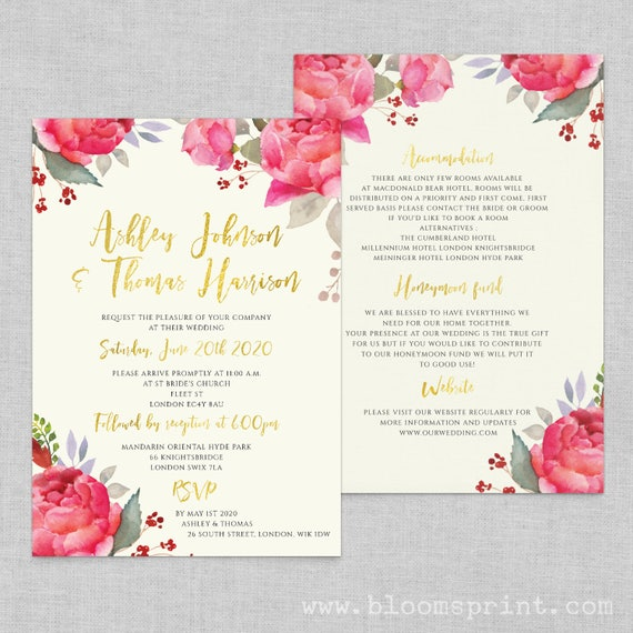 Floral boho wedding invitation template, Wedding invites floral, Wedding information card, Romantic calligraphy wedding invitation, A5