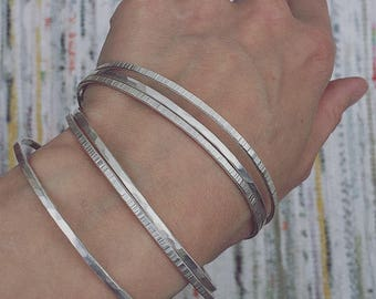 Set of 3, 6 or Single Textured Ethical Silver Stacking bangles