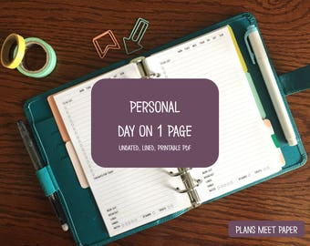 PRINTABLE Personal Daily Insert, Day on 1 Page, Undated