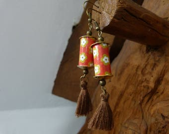 Earrings tassel paper beads