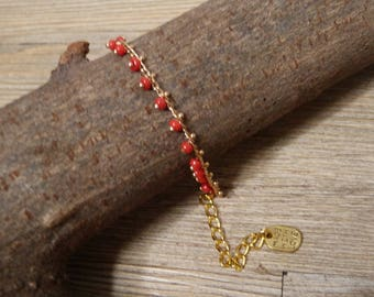 Gold & red seed bead chain bracelet & made wich love