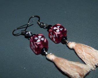 Earrings pink Glass Cube & tassel