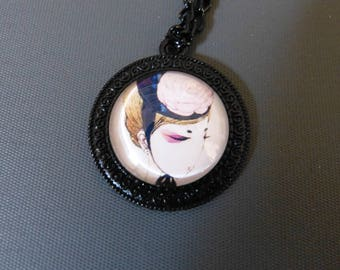 Necklace cabochon girl with Hat