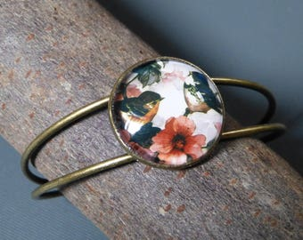 Birds floral cabochon bracelet