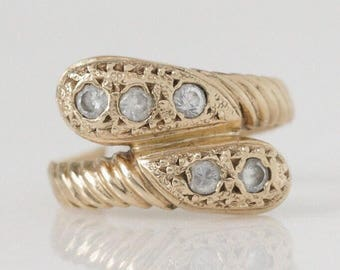 Petite Vintage 14k and Diamond Bypass Ring