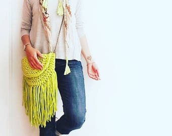 Pre Made Citrus boho fringed Lime Green half moon bag with chain shoulder strap