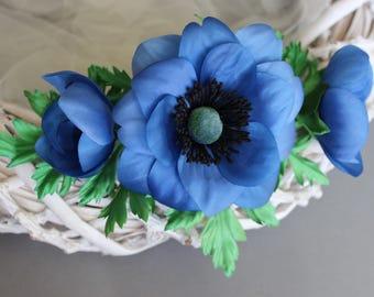 Bright blue anemone garland for dress belt, anemone flower, anemone, wedding  dress belt, anemone wedding, anemone wreath, anemone bouquet