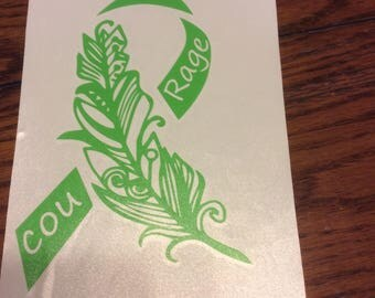 Lime Green Feather Awareness Ribbon, Lymphoma, Lyme Disease, Muscular Dystrophy, vinyl decal