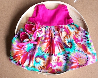 Tie Dye PrInt Infant Dress & Booties