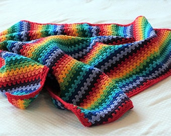New Made To Order Colorful Baby Blanket/ Rainbow Blanket