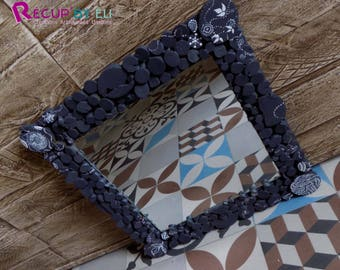 "Squared mirror, recycled mirror, frame wooden mirror, ""Ethnic Afro"""