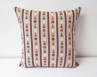 Handmade Decorative Anchors Aweigh Cotton Cushion Cover.