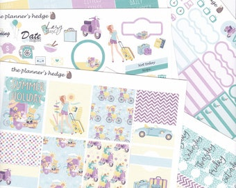 Summer Travel, Weekly, a-la-cart, planner stickers
