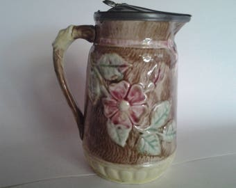 Majolica flower pitcher with metal top