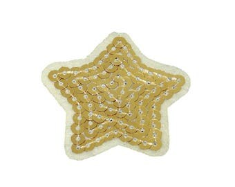 Patch/bow-Star with sequins-gold-5.1 x 5 cm-by catch-the-Patch ® patch appliqué applications for ironing application patches patch
