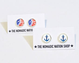 Anchor Earrings- Military Accessories- Military Spouse Gift- Navy Wife- Navy Mom- Navy Girlfriend