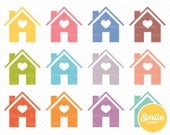 House Clipart for Commercial Use - PNG Files in Rainbow Colors   0172