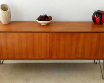 Vintage G Plan Sideboard on Hairpin legs, perfect for vinyl storage