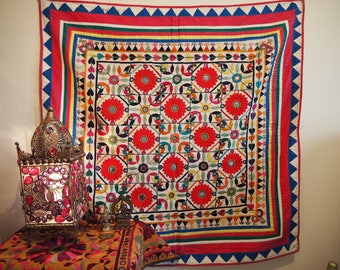 Vintage Indian Gujarat Antique Holy Temple Chakla Home Festival Textile Wall Hanging Throw Hippy Boho
