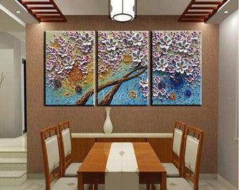 3 Piece Canvas Wall Art Painting handpainted 3D Oil Painting On Canvas Colorful Flowers Abstract Painting Stretched and Framed Ready to Hang