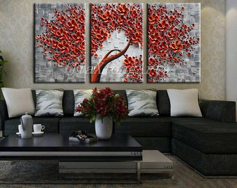 Original handmade 3 Piece Oil Painting On Canvas Texture 3D Flowers Painting Canvas Wall Art Painting Stretched and Framed Ready to Hang