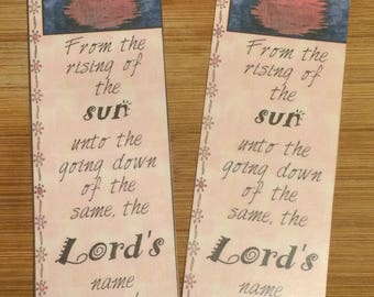 Bible Verse Bookmark - Psalm 113:3 -  handmade WITHOUT tassel  (stock #10) from the rising of the sun