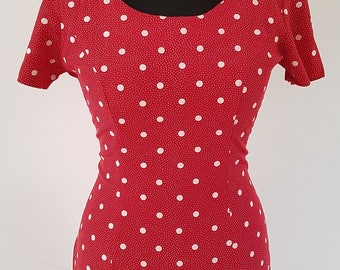 Vintage red and white polka fitted dress | Dawn Joy Fashions