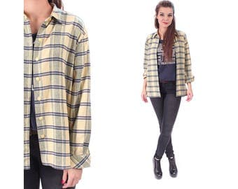 DISTRESSED Flannel Shirt 80s Plaid Grunge Lumberjack Faded Black Yellow Oversize Women Long Sleeve Button Up Vintage Medium to Large