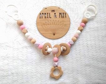 Ready to ship! Pram garland, pram toy, teether, rattle- baby girl