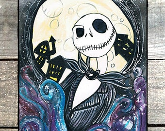 The nightmare before christmas by Tim Burton watercolor painting 9 x 12, Jack Skellington, wall decor, gift for a fan.