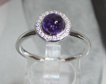 Women natural Amethyst silver ring size 50