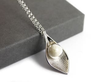 DIY Breast Milk Pearl Sterling Silver Calla Lily Necklace Kit, Do it Yourself DNA Breastmilk keepsake