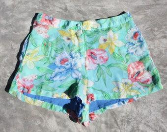 Summer shorts high waisted floral printed chiffon