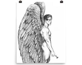 Gay Male Angel with Rose~Fine Art Print by Artist D Rosendahl