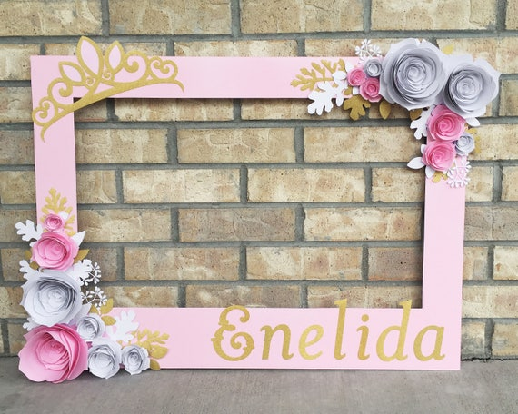 Pink Princess Birthday Frame booth prop with 3D flowers