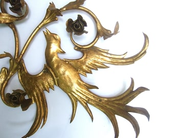 Hollywood Regency Gilt Metal Bird Theme Wall Hanging c 1960